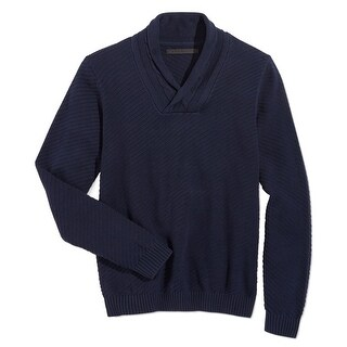 Sean John NEW Blue Mens Size 3XL Ribbed Shawl Collar V-Neck Sweater