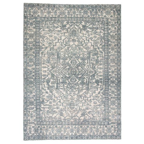 Germaine Hand-Knotted Medallion Blue/ Ivory Area Rug