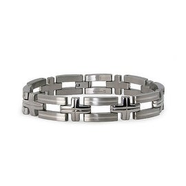Titanium Men's Link Bracelet with Sterling Silver Inlay 8.5 Inches