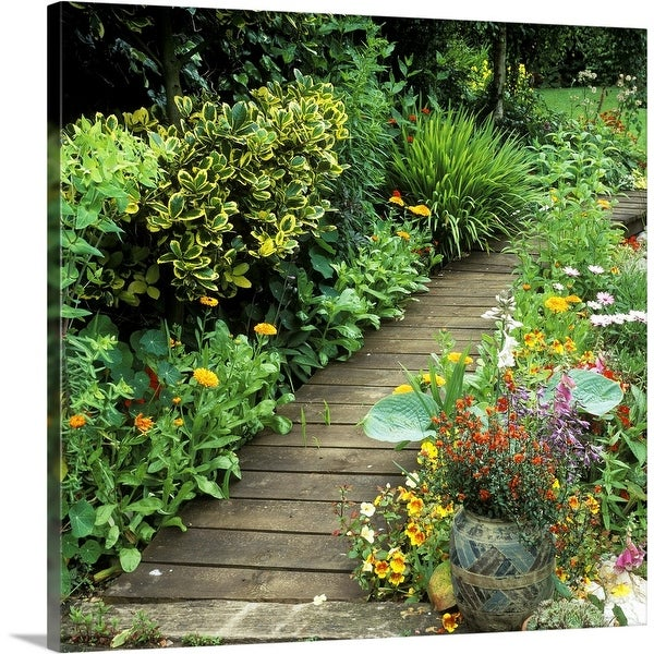 """""""Wooden walkway shrubs, plants in containers, Ashover"""" Canvas Wall Art"""