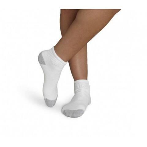 Gildan 1048593 Men's Ankle Gray Heel/Toe Socks, White, 6-Pack