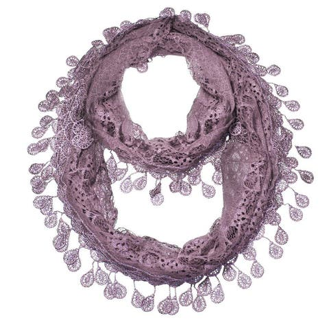 "Women's Sheer Lace Scarf with Teardrops Fringe - 62"" x 12"""
