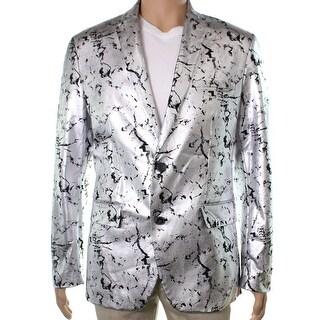 INC NEW Silver Black Mens Size XL Two Button Foil slim Fit Blazer