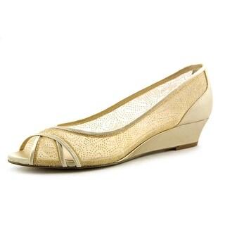 Nina Rigby Women Open Toe Canvas Gold Wedge Heel