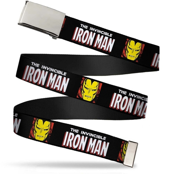 Marvel Comics Blank Chrome Buckle The Invincible Iron Man W Face Web Belt
