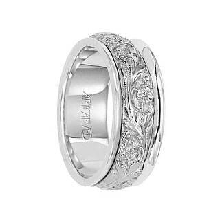 LYRIC 14k White Gold Wedding Band with Floral Engraved Center Rounded Edges by Artcarved - 8 mm
