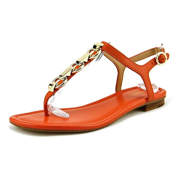 MICHAEL Michael Kors Womens Mahari Leather Split Toe Casual T-Strap Sandals