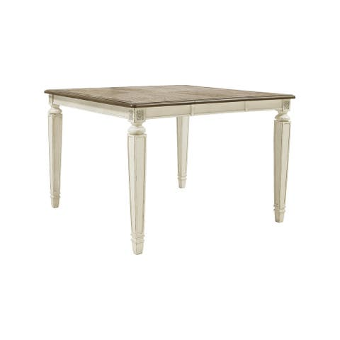 Realyn Square Dining Room Counter Extendable Table, Two-tone - 54W x 54 D x 36 H