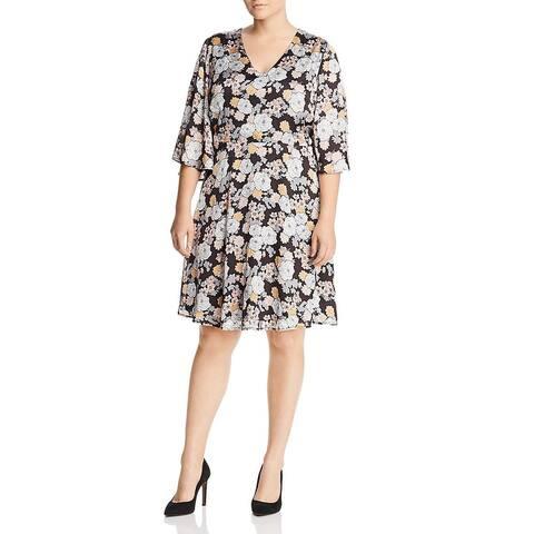 Bobeau Womens Plus Wear to Work Dress Floral Print Flutter Sleeves