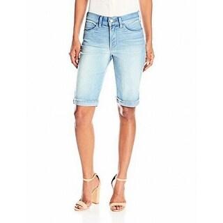 NYDJ NEW Blue Womens Size 8 Briella Stretch Roll Cuff Denim Shorts