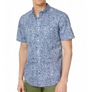 Tommy Hilfiger Blue Mens Size XL Custom Button Down Printed Shirt