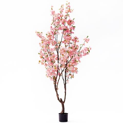"6.5ft Cherry Blossom Flower Tree in Pot - 78"" H x 36"" W x 36"" DP"