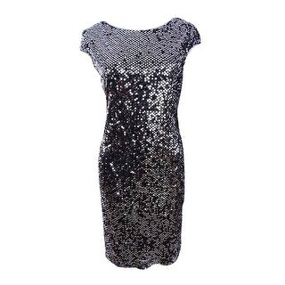 SL Fashions Women's Cowl-Back Sequin Cocktail Dress - Black (2 options available)