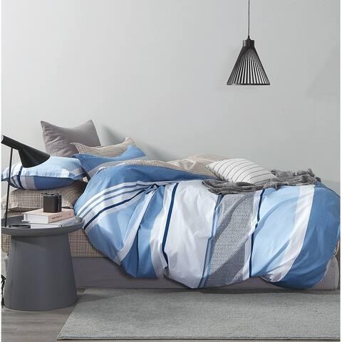 Mayvon Blue Striped 100% Cotton Duvet Cover Set
