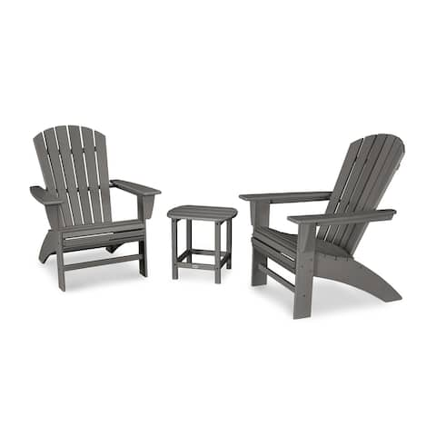 POLYWOOD Nautical 3-Piece Curveback Adirondack Set