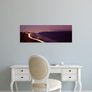 Easy Art Prints Panoramic Image 'City lit up, Highway 101, Santa Monica, Los Angeles County, California' Canvas Art