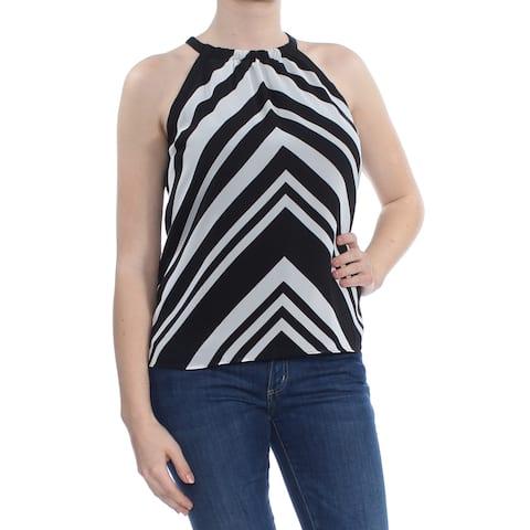 BAR III Womens Black Striped Sleeveless Halter Top Size: M