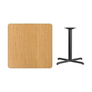 Offex 36'' Square Natural Laminate Table Top with 30'' x 30'' Table Height Base [OF-XU-NATTB-3636-T3030-GG]