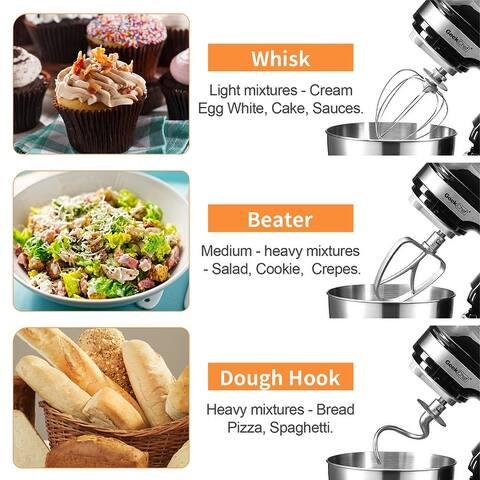 Geek Chef 4.5L/4.8Qt Stand Mixer: 4.8 Quart Stainless Steel Bowl, 12 Speed settings, Tilt Head, black