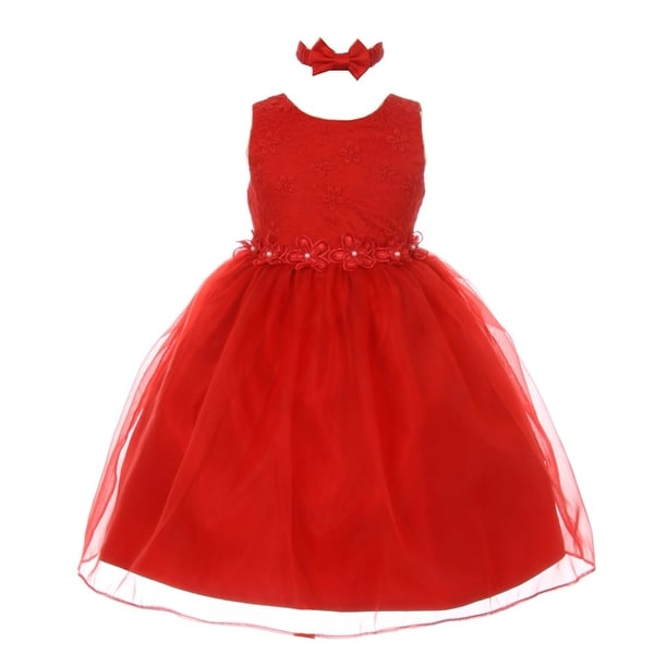 Rain Kids Baby Girls Red Floral Trim Organza Flower Girl Easter Dress 24M