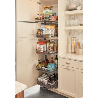 """Rev-A-Shelf 5374-24FL  5374 Series 23"""" by 75"""" Tall Two Tier Pull Out Pantry Cabinet Organizer with 5 Adjustable Shelves"""