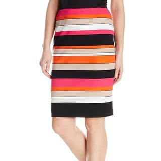 Kasper NEW Orange Womens Size 10P Petite Striped Straight Pencil Skirt