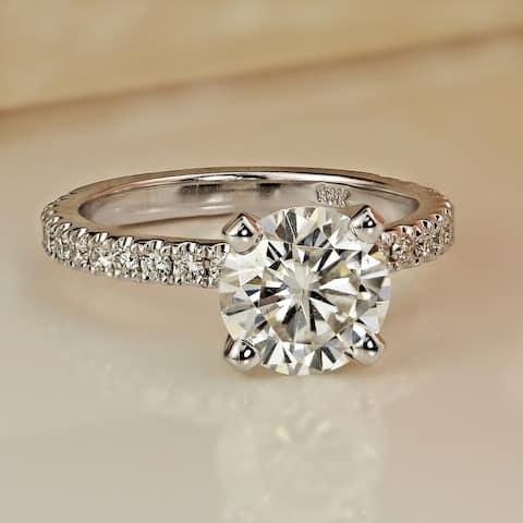 Auriya 14k Gold 2 carat TW Classic Round Diamond Engagement Ring Certified