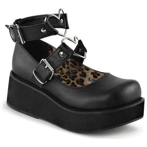 Demonia Women's Sprite 02 Platform Mary Jane Black Vegan Leather