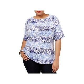 Karen Scott Womens Plus Pullover Top Boat-Neck Floral Print (2 options available)
