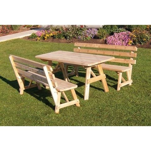 Pine 6' Picnic Table with 2 Backed Benches