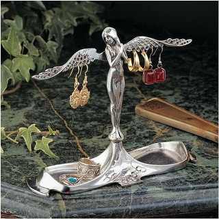 Design Toscano Art Nouveau Angel-in-Waiting Italian Pewter Jewelry Holder