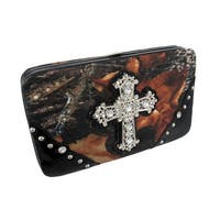Deep Forest Camouflage Rhinestone Cross Hard Wallet
