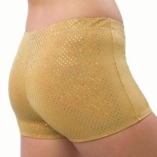 Pizzazz Girls Size 2T-16 Gold Sequin Boy Cut Brief Cheer Dance Shorts