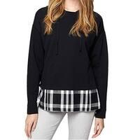 Sanctuary Womens Medium Twofer Plaid Hooded Sweater