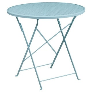 Offex 30'' Round Sky Blue Indoor-Outdoor Steel Folding Patio Table