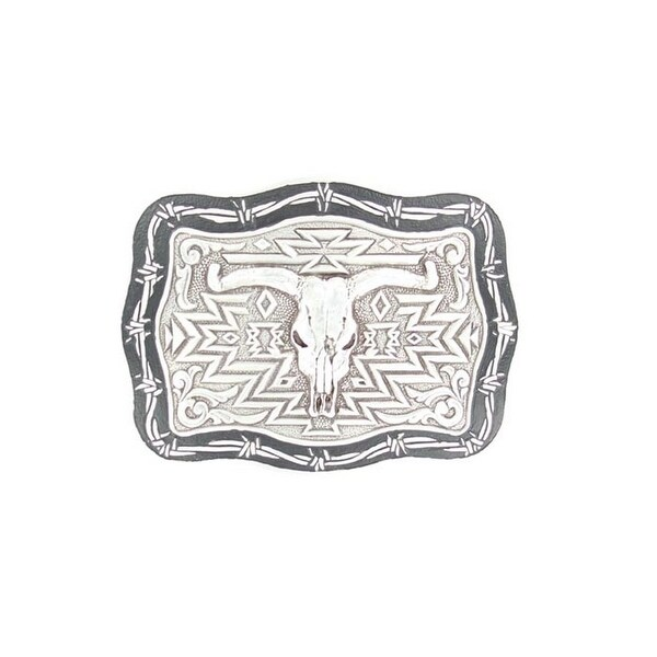 Crumrine Western Belt Buckle Rectangle Steer Skull Silver Black - 3 1/4 x 4 3/4