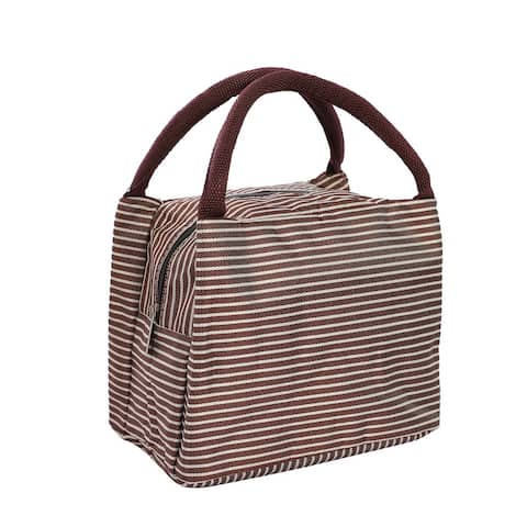 Travel Oxford Fabric Stripe Pattern Rectangle Lunch Insulated Bag - Brown,White - 8.26 x 6.1 x 6.69 Inch