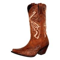 "Durango Western Boots Womens 12"" Crush Crossed Guns Brown"