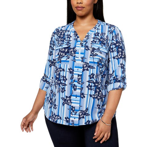 NY Collection Womens Plus Blouse Floral Print Utility