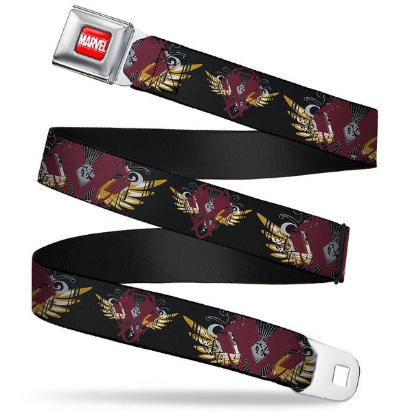 Marvel Universe marvel Full Color Red White Thor'S Hammer W Wings Close Up Seatbelt Belt