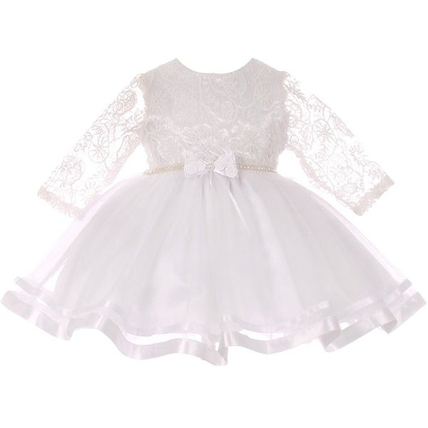 Baby Girls White Lace Tulle Rhinestone Pearl Flower Girls Dress S-XL
