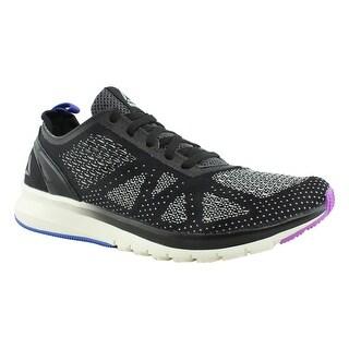 Reebok Womens Print Smooth Clip Ultraknit Black Running Shoes Size 8.5