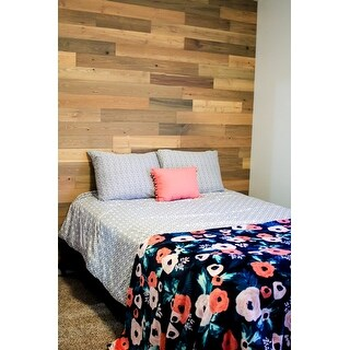 Timberchic Reclaimed Wooden Wall Planks - Peel and Stick Application (20 Sq. Ft.) (Sandy Beach) - Multi-color