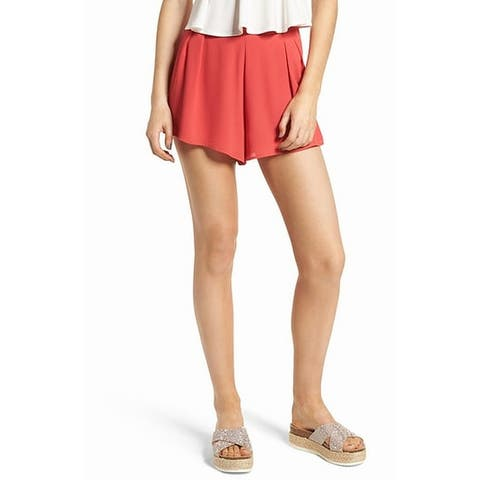 Lush Womens Shorts Coral Pink Size XL High-Waist Pleated Front Solid