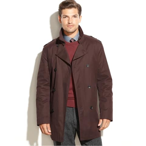 Kenneth Cole Mens Rance Raincoat, Brown, 42