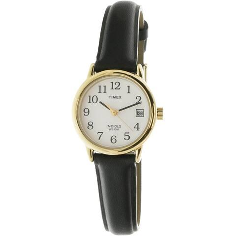 Timex Women's Easy Reader T2H341 Black Leather Quartz Dress Watch