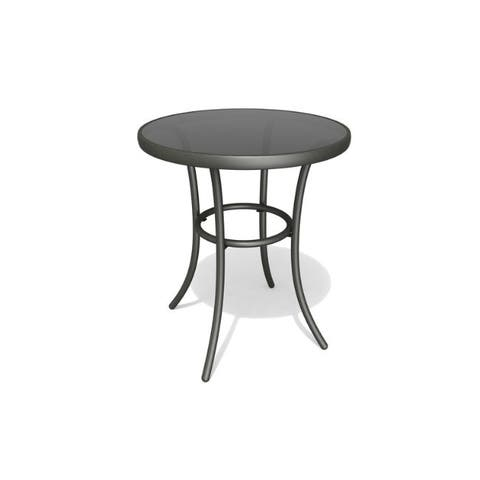 Living Accents Round Black Glass Bistro Table