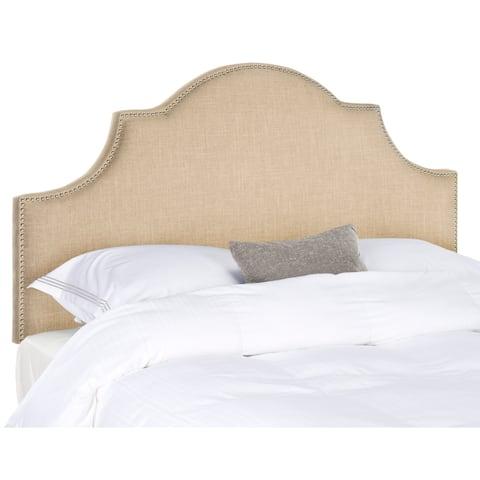 Safavieh Hallmar Hemp Linen Upholstered Arched Headboard - Silver Nailhead (King)