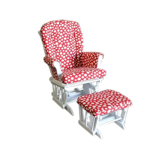 Lizzie Red & White Spot Polka Dot Glider with Ottoman