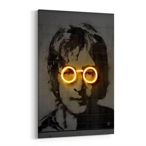 John Lennon Music Neon Street Art Canvas Wall Art Print